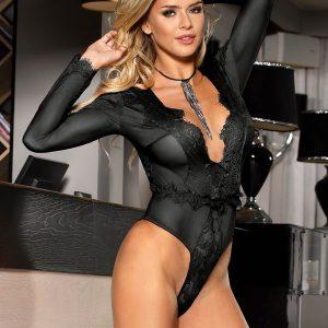 Body Diseño Escotado Con Mangas Largas Negro