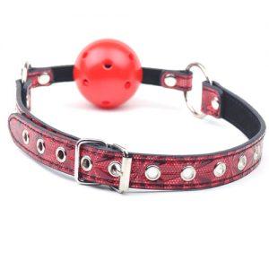 Bozal De Eco Cuero Rojo Con Bola