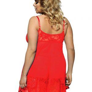 Babydoll En Microtull Y Encajes Rojo XL COD0158-3P